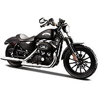 Maisto Harley-Davidson Sportster Iron 883: Originalgetreues Motorradmodell 1:12, mit beweglichem Ständer und Lenkung, 18 cm, schwarz (532326)