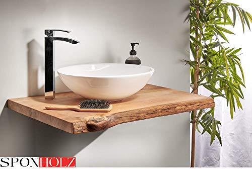 Waschtischplatte Eiche Baumkante geölt massiv Holz Waschtisch (70 x 50 cm)