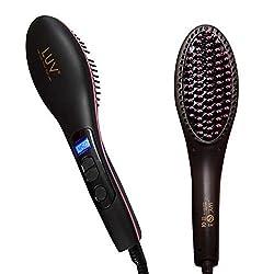 New LUV Premium Ceramic Professional Hair Straightener Brush nano 3 in 1 Straightening, Detangling and Styling LCD temp display 450degree celsius