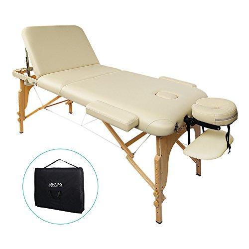 Naipo Massageliegen Massagestuhl Massagetisch kosmetikliegen Kosmetik Liegen dreifach tragbare mit Hölzernen Füßen Deluxe Professionelle leichte Kostenlose Tragetasche