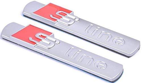 2 x Sline Quattro Supercharged Emblem Emblem, Chrom-Klinge, seitliche Kotflügel, Aufkleber für Audi Serie A4 A6 A8 Q5 Q7 Tt Logo (Audi A4 Klingen)