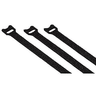 Hama Klett-Kabelbinder Set, 12x200mm, 20 Stk. (Klettbänder mit Ösen, wiederverwendbarer Klettverschluss z.B. für Kabel, Leitungen) schwarz