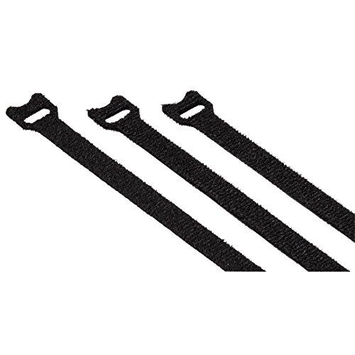 Hama Klett-Kabelbinder Set, 12x200mm, 20 Stk. (Klettbänder mit Ösen, wiederverwendbarer Klettverschluss z.B. für Kabel, Leitungen) schwarz (12 Kabelbinder)