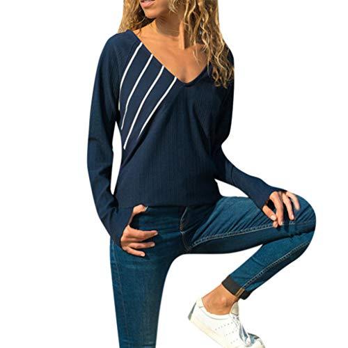 (iHENGH Damen Top Bluse Lässig Mode T-Shirt Frühling Sommer Frauen Bequem Blusen Gestreiftes Lange Ärmel Tops (Marine, S))