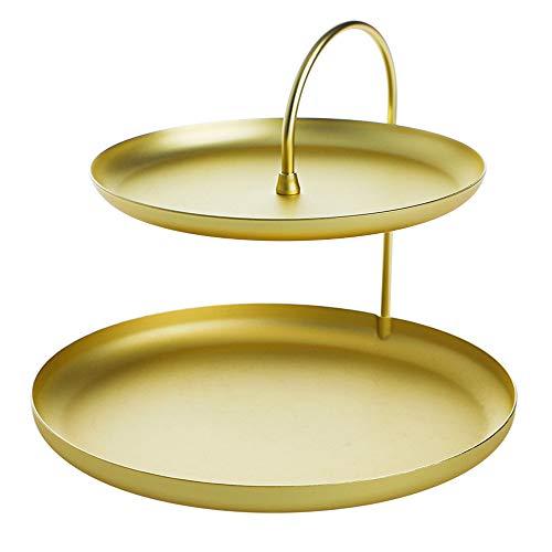 MLQ Schmuckablage, Doppelschicht Gold Runde Tablett Schmuckablage Nordischen Stil Veranda Schlüssel Kosmetik Aufbewahrungsbox Ohrringe Tablett Schmuckschatulle Desktop Tablett -