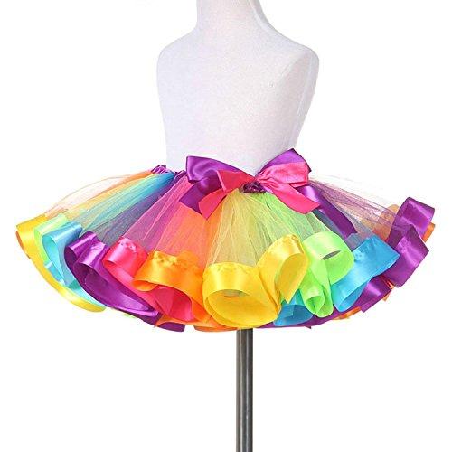 Mädchen Tutu, Canvalite Regenbogen Ballet Prinzessin Tüllrock Cosplay Kostüm für Tanz Party (Tanz Weihnachts Kostüme)