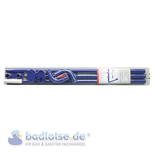 Duschvorhang-Stange 165 x 70 cm Ø 25 mm blau Winkelstange Bade-Wanne Dusche