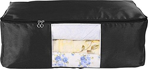 Evst unter Bett Kleidung Aufbewahrungstasche, Oxford kariert Tuch Aufbewahrungstasche schwarz (Kleidung Aufbewahrungstasche)