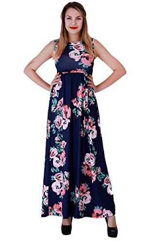 YMING Damen Ärmellos Kleid Langes Kleid Rundhals Casual Boho Blumen Druck Strandkeid,Dunkelblau,M / DE 38-40 (Druck Maxi-kleid Baumwolle)