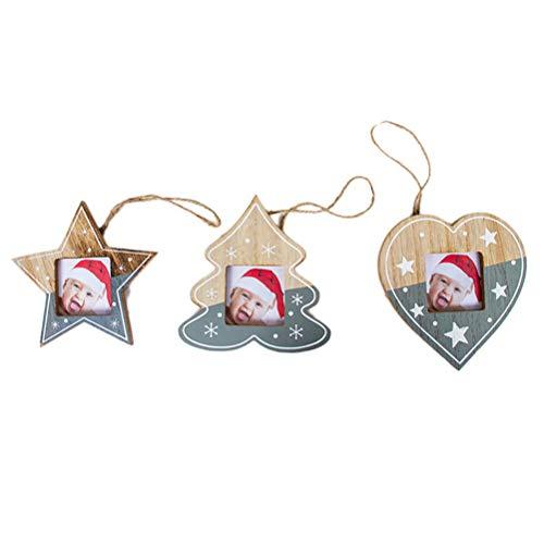 (BESTOYARD Weihnachtsbaum Anhänger Bilderrahmen Design Stern Weinachtsbaum Herz Form Weihnachtsbaumschmuck Weihnachten Hängede Deko 3 Stück (Grau))