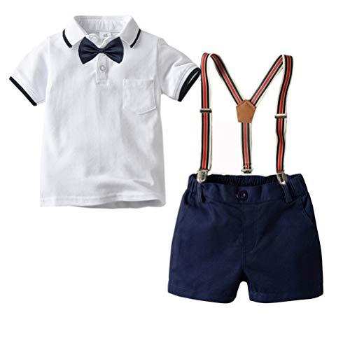 CARETOO Baby Jungen Bekleidungssets Kleidung Set Shirt + Hose Baby Fliege Anzug für Baby Geburtstagsparty Kleid - Jungen Anzug Set
