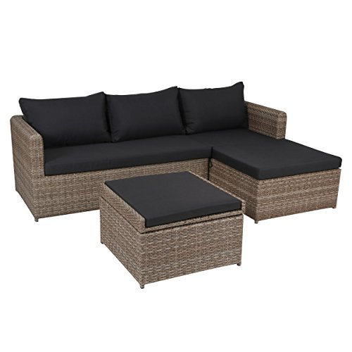 greemotion Rattan Lounge Set Louisville-Gartenmöbel 3-teilig in Braun Auflagen in Anthrazit...