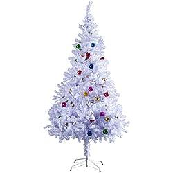 Árbol de Navidad Pino Abeto Arbol Plastico Blanco 150 cm INCLUYE DECORACION y Soporte de Base