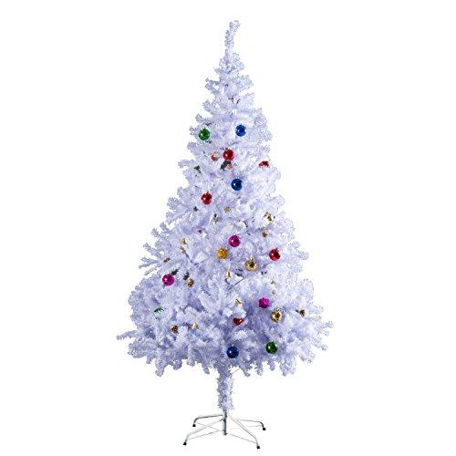 Homcom Weihnachtsbaum künstlicher Christbaum Tannenbaum Baum mit Ständer, Metall, weiß, 105.0 x 105.0 x 180.0 cm