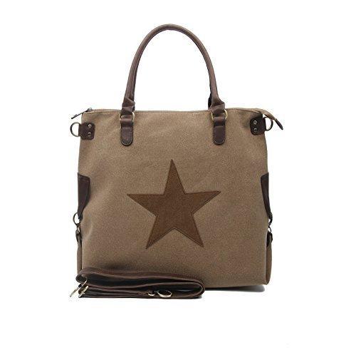 OBC DESIGN ITALIANO borsa borsa di cuoio borsa donna TELA COTONE Crossover Borsa a Tracolla Sportivo BORSA TRACOLLA BORSA CON MANICI SHOPPER DIN-A4 - Grigio (strass-stern), ca 44x42x15 cm ( BxHxT ) khaki-braun