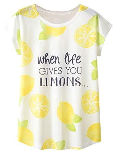Doballa Damen Flamingo T-Shirt Floral Crown Garland Muster Kurzarm Niedlich Oberteile (L, Zitrone)