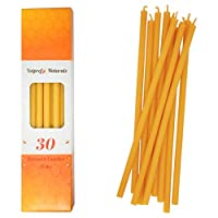 Votprof 30 Natural 100% Pure Beeswax Taper Candles (8 in) Natural Honey Scent, Dripless, Smokeless, Nontoxic