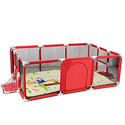 Playpens Large Baby with Mat,anti-rollover Toddler Safety Playard,Storage bag/football frame, 190×129×66cm (color : Red)