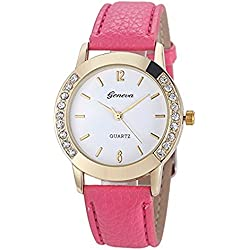 Leather Watch,Rawdah Women Diamond Analog Quartz Wrist Watches Hot Pink