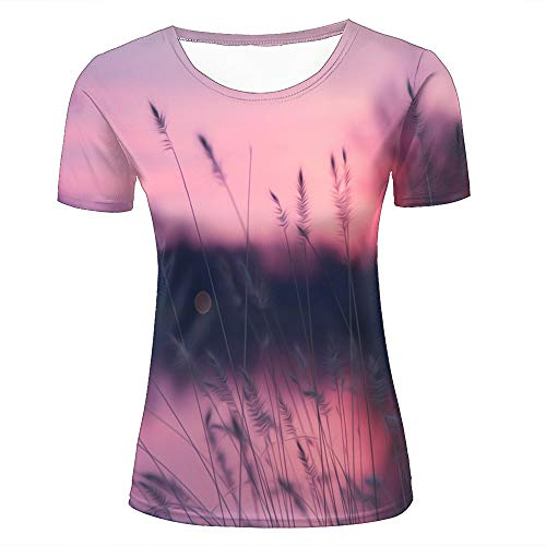 Women 3D Printed Fashion T-Shirts Pink Sunset Scenery Wild Grass Growing Casual Short Sleeve Shirts Novelty Tees S