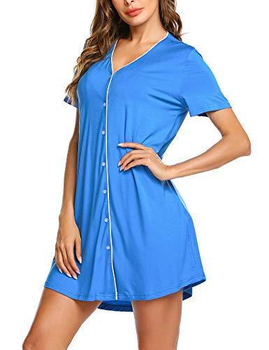 ADOME ADOME Nachtwäsche Oberteil Damen Nachtkleid Sommer weich Schwangere Frauen Pyjama Schlafkleid Knopfleiste Schlafanzugoberteil blau