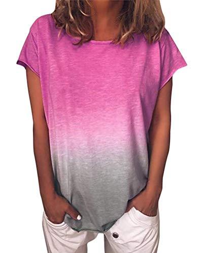 ORANDESIGNE Damen Kurzarm T-Shirt Rundhals Blusen Beiläufig Farbverlauf Shirt Sommer Lose Shirt Tees Rosa DE 50 - Rosa Bluse Shirt