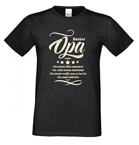 Soreso Design Family T-Shirt - Bester Opa Weil - Bedrucktes Hemd Als Passendes Geschenk oder Outfit für deinen Großvater - Schwarz - XL