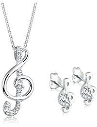 Elli Damen Schmuckset Halskette und Ohrringe Notenschlüssel 925 Sterling Silber Swarovski Kristall weiß 0907952712