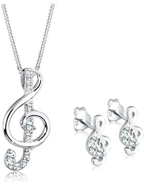Elli Damen-Halskette + Ohrringe Notenschlüssel 925 Sterling Silber Swarovski Kristall weiß 0907952712_45