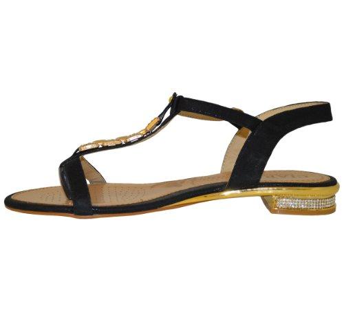 Outofgas Clothing talon chaîne Doré/strass Sandales de plage (1005–3) Noir - noir