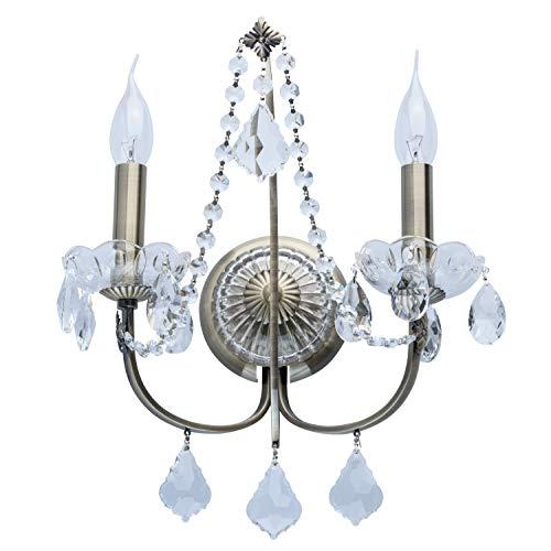 MW-Light 367023802 Kerzen Wandleuchte 2 Flammig Klassisch Messing Kristall Flur - Messing-2 Kerzen