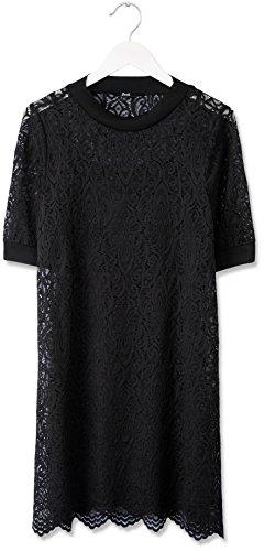 FIND Robe en Dentelle Brodée Femme Noir (Black)