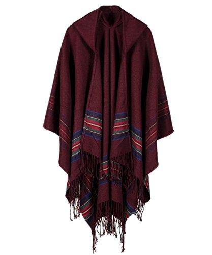 SAMGOO Damen Knitted Kapuzen Poncho Cape für Frauen aus Strickmaterial Streifen Cardigans Blanket (Rotwein) (Rotes Kapuzen Cape)