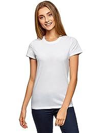 oodji Ultra Femme T-Shirt en Coton à Col Rond sans Étiquette