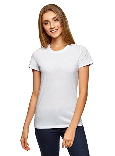 oodji Ultra Damen Tagless Baumwoll-T-Shirt mit Rundhalsausschnitt, Weiß, DE 38/EU 40/M (Rundhalsausschnitt Tagless T-shirt)