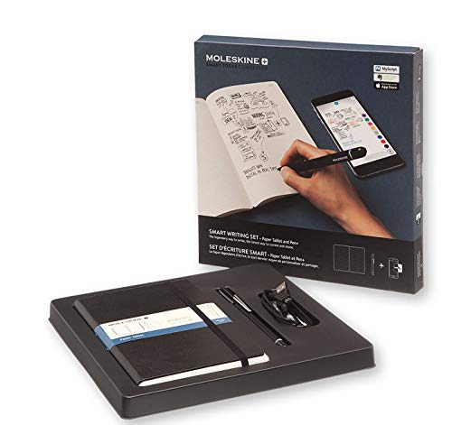 Moleskine Smart Writing Set Paper Tablet Notizbuch und Pen+ Smartpen (Smart Notizbuch Paper Tablet geeignet für die Verwendung mit Moleskine Pen+, gepunktet, Large 13 x 21cm) schwarz