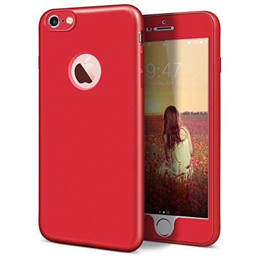 """GrandEver Coque iPhone 6s (4.7"""") 360 Design Silicone Antichoc Souple Rigide Ultra Fine Slim Etui Incassable Gel Rubber Souple Caoutchouc avec Bumper Housse Protection Case pour iPhone 6s / iPhone 6 -- Rouge"""