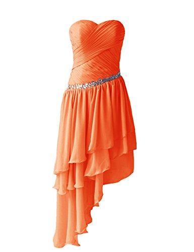 Dressystar Robe de femme Robe de soirée/bal courte, à Traîne Asymétrique,en Mousseline Orange