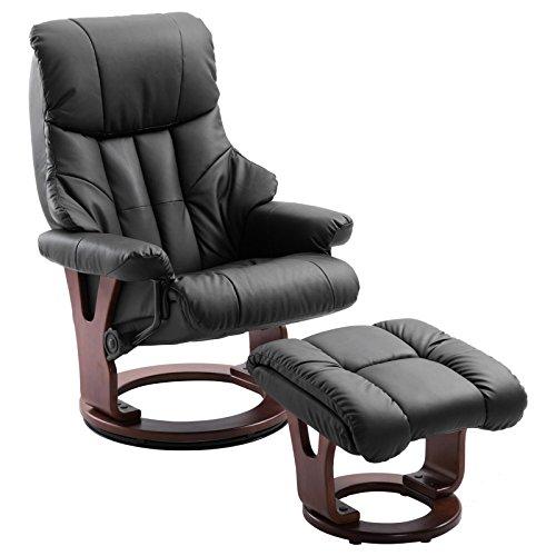 IDIMEX Relaxsessel mit Hocker Cushy, Fernsehsessel TV Sessel Relaxstuhl Entspannungssessel, gepolstert, mit Kunstleder in schwarz