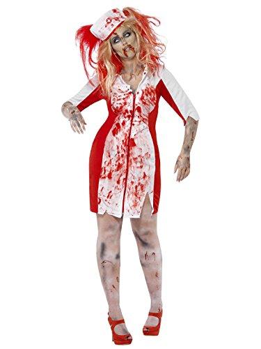Blutige Zombie Krankenschwester Halloween Plus Size Damenkostüm rot weiss (Plus Size Krankenschwester Halloween Kostüme)