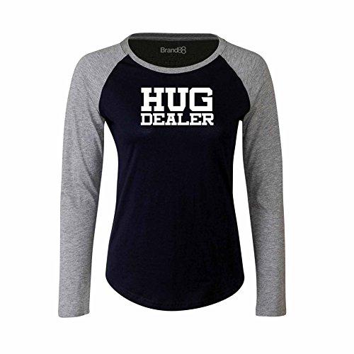 Brand88 - Hug Dealer, Damen Langarm Baseball T-Shirt Blau & Grau