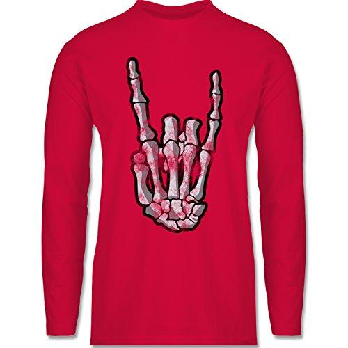 Metal - Metal Horns Skelett Hand - Longsleeve / langärmeliges T-Shirt für Herren Rot