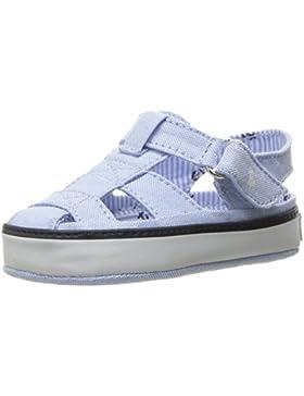 POLO RALPH LAUREN - Hellblauer Schuh für die Wiege aus Stoff, mit Schnallenverschluss, auf dem Verschluss ein...