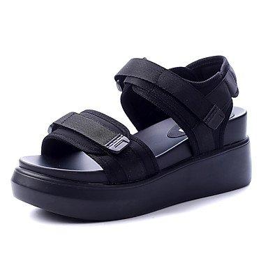 RUGAI-UE Sommer Mode Frauen Sandalen Schuhe Casual PU Komfort Fersen, Hellblau, US 6 / EU 36/UK4/CN 36 Black