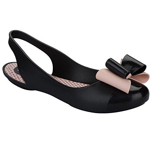Nero Zaxy da donna regalo fiocco sandali, Nero