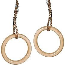 WICKEY Ringe aus Holz Turnringe Gymnastikringe Seilringe, Ringe Ø145mm, Holz
