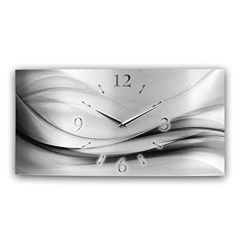 Kreative Feder Abstrakt Silber XXL Metallic Designer Funk Wanduhr Funkuhr modernes Design leise ohne Ticken * Made in Germany* (80x40cm Funkuhr)