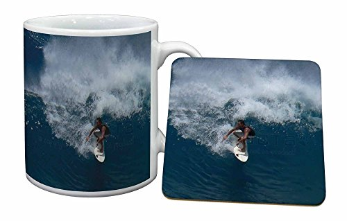 Advanta - Mug Coaster Set Surfboard Surfen - Wassersport Becher und Untersetzer Tier Ge