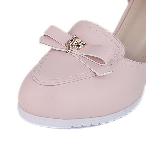 VogueZone009 Damen Hoher Absatz Rein Schnalle Rund Zehe Pumps Schuhe Pink