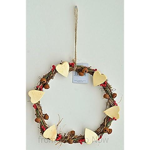 Gisela Graham Ramoscello Ghirlanda di Natale decorati con cuori, campane e bacche
